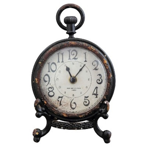 Pewter Mantle Clock with Stand Black - 3R Studios