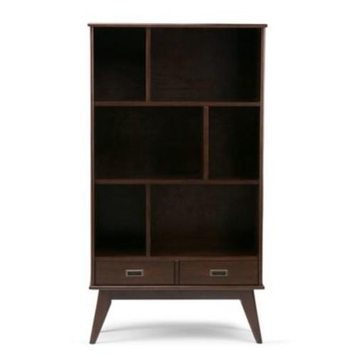 Simpli Home Draper Bookcase with Storage in Auburn Brown