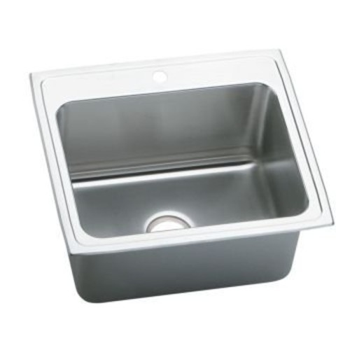 Elkao|#Elkay PLA2522125 18 Gauge Stainless Steel 25 Inch x 22 Inch x 12.125 Inch single Bowl Top Mount Laundry/Utility Sink, 5 Faucet Holes,