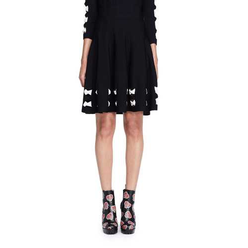 ALEXANDER MCQUEEN Knit Bow-Trim Skirt, Black/White