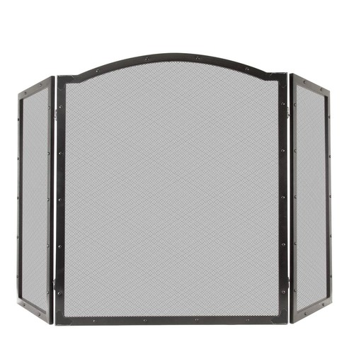 Pleasant Hearth Fortna 3-Panel Fireplace Screen in Antique Black
