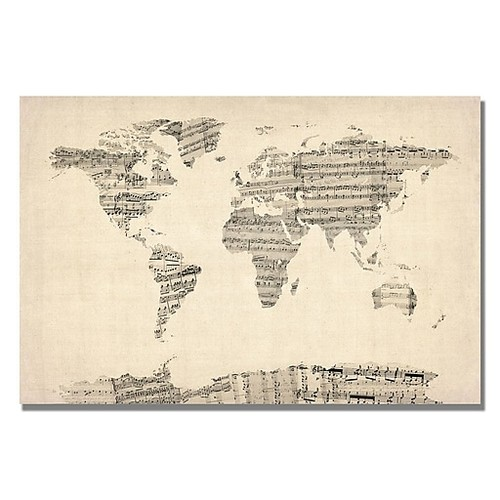 Trademark Fine Art Michael Tompsett 'Old Sheet Music World Map' Canvas Art 18x24 Inches