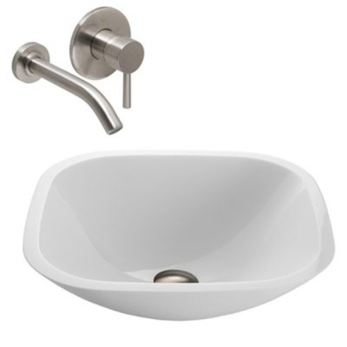 Vigo VGT219 Phoenix Square Stone Sink and Vessel Wall Mount Faucet Set in Brushed Nickel