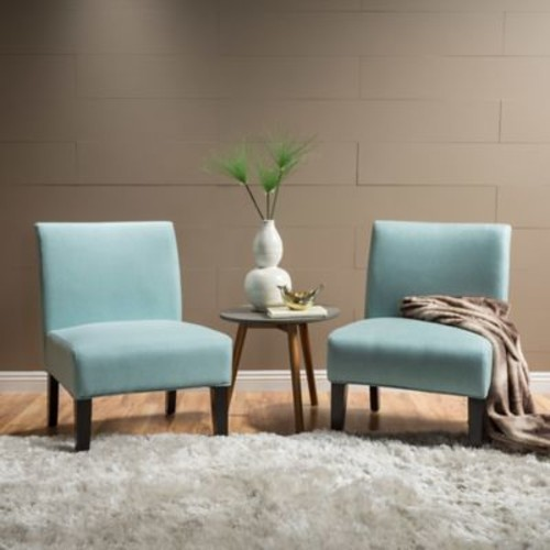 Highland Dunes Veranda Slipper Side Chair (Set of 2); Light Blue