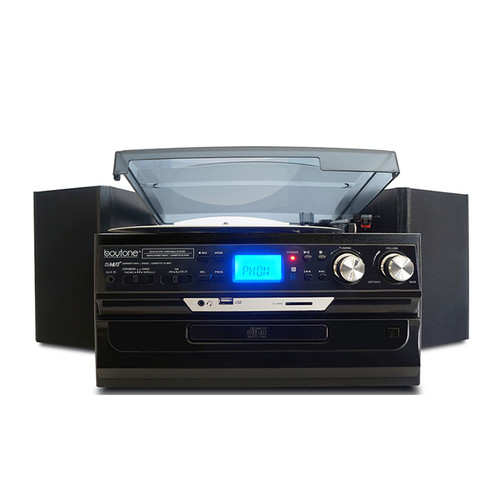 Boytone 97096691M 7 in 1 Bluetooth 3 Speed Home Turntable System with CD, Cassette, AM/FM, USB, SD and AUX