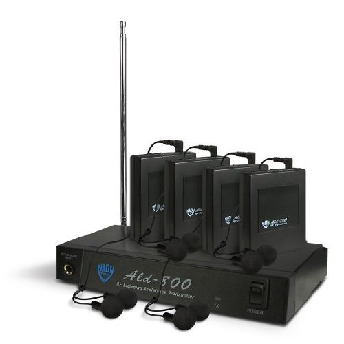 Nady Ald-800 Aa Assistive Listening System, Includes 4 Wireless Ear Buds, 4 Receivers, Transmitter, Power Supply and More 300 Foot Range