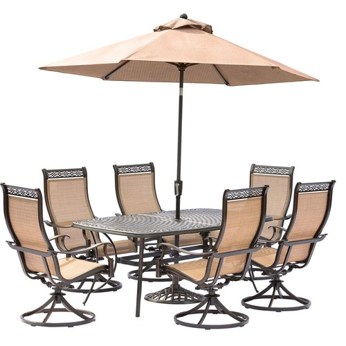 Hanover Manor 7-Piece Aluminum Rectangular Outdoor Dining Set with Swivels, Cast-Top Table, Umbrella and Base