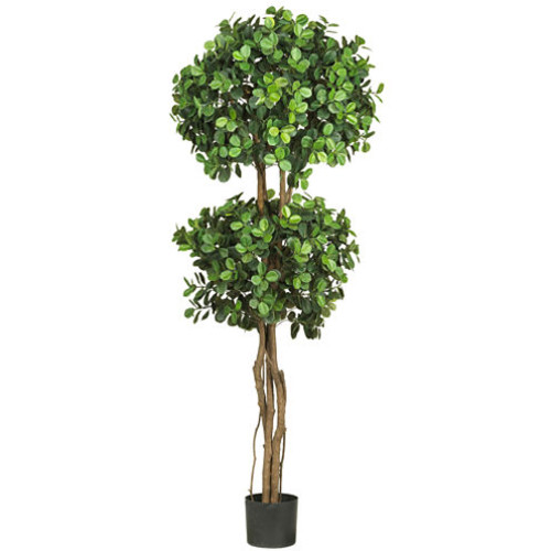 Nearly Natural 5.5-ft. Eucalyptus Double-Ball Topiary Silk Tree