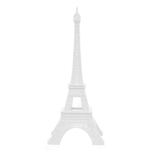 THREE HANDS 11 in. x 11 in. White Resin Eiffel Tower Tabletop Decor in White