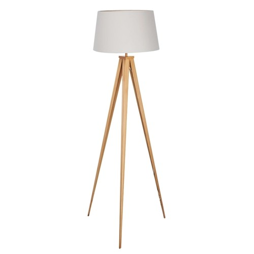 Euro Style Collection Berlin Off-white, Tan Fabric, Wood Printed Metal Tripod Floor Lamp