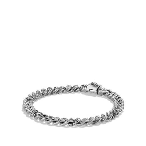 Petite Pav Curb Link Bracelet with Diamonds