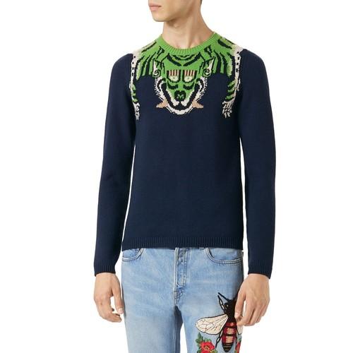 GUCCI Knit Tiger-Stripe Sweater, Green