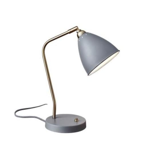 Adesso 21 in. Grey Chelsea Desk Lamp