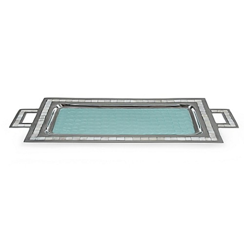 Julia Knight Classic 25-Inch Rectangular Tray with Handles in Aqua