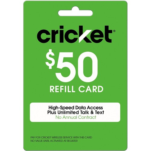 Cricket Prepaid Wireless $50.00 30 Day Refill Card