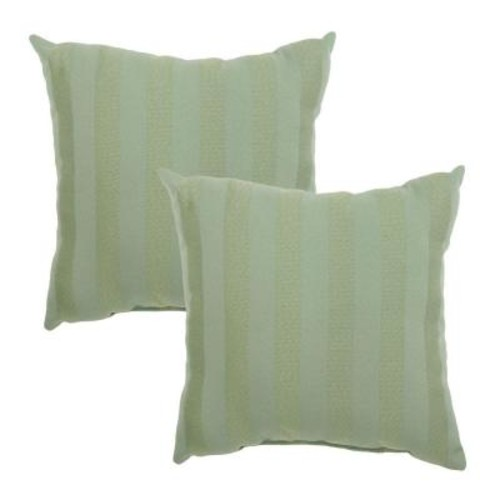 Hampton Bay Bayou Solid Square Outdoor Throw Pillow (2-Pack)