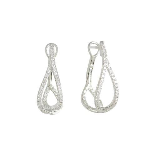 18K White Gold Diamond Small Crossover Hoop Earrings