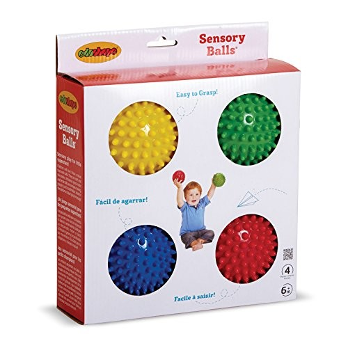 Edushape Sensory Balls, 4 Inch, Solid Colors, 4 Ball Set [Solid Primary]