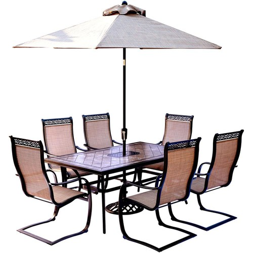 Hanover Monaco 7-Piece Outdoor Dining Set with Rectangular Tile-Top Table and Contoured Sling Spring Chairs, Umbrella and Base