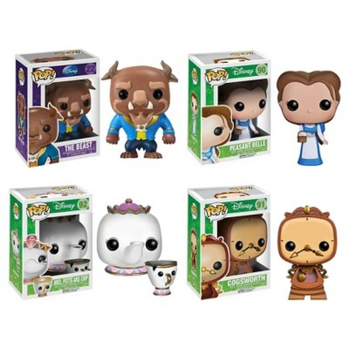 Funko Beauty and the Beast Movie POP! Disney Vinyl Collectors Set: The Beast, Peasant Belle, Mrs. Potts with Chip, Cogsworth
