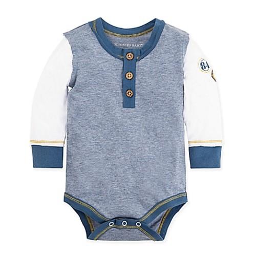 Burt's Bees Baby Size 0-3M Henley Patch Bodysuit in Blue/White