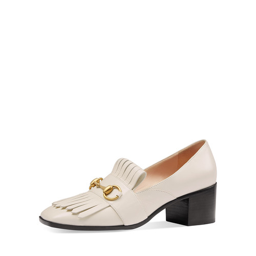 GUCCI Polly Kiltie Leather 55Mm Loafer, Off White