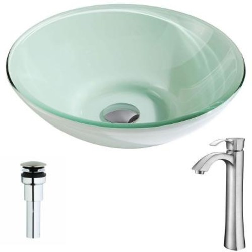 ANZZI Sonata Series Deco-Glass Vessel Sink in Lustrous Light Green with Harmony Faucet in Brushed Nickel