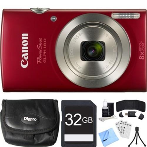Canon PowerShot ELPH 180 20MP 8x Optical Zoom HD Red Digital Camera 32GB Card Bundle