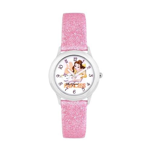 Disney's Beauty and the Beast Belle & Mrs. Potts Kids' Glittery Leather Watch