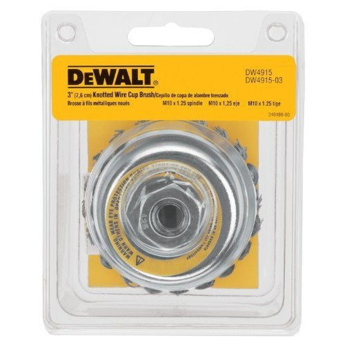 DEWALT DW4915 3-Inch by M10 by 1.25 Knotted Cup Brush/Carbon Steel .020-Inch