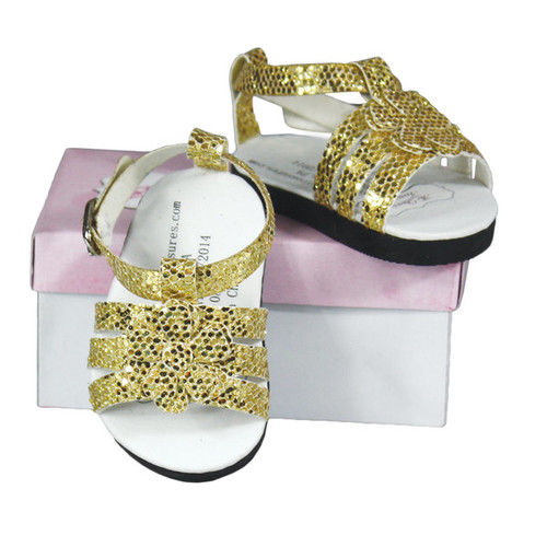 The Queen's Treasures Gold Strappy Sandal fits 18