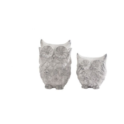 Sunjoy Cast Resin 12-inch and 17-inch Owl Statues (Set of 2)