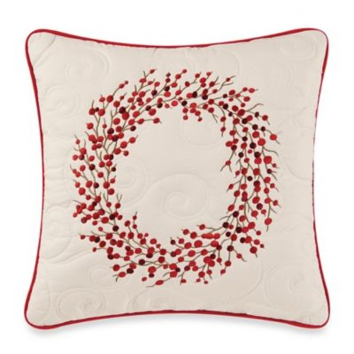 Berry Wreath Embroidered Accent Pillow