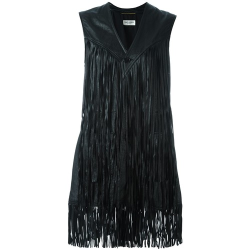 SAINT LAURENT Fringed Leather Waistcoat Jacket