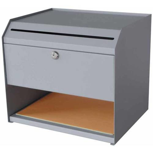 Buddy Products 1-Shelf Steel Suggestion Box with Paper Storage in Grey
