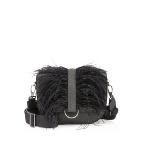 Ostrich Feather and Leather Shoulder Bag