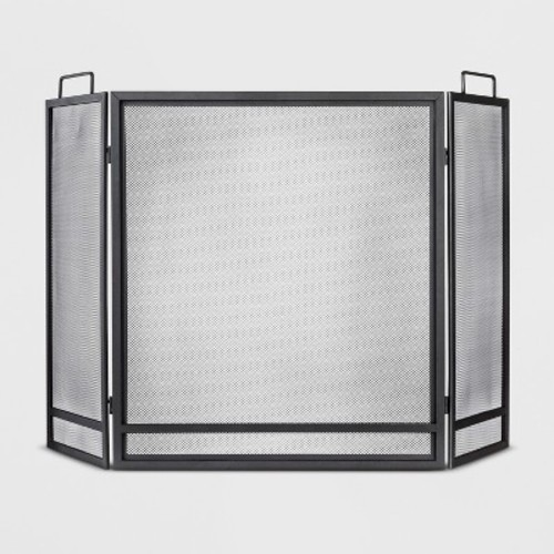 Threshold Fireplace Screen - Matte Black Finish