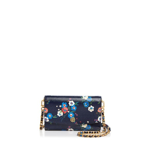 TORY BURCH Floral Print Chain Wallet