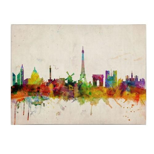 Trademark Fine Art Michael Tompsett 'Paris Skyline' Canvas Art 16x24 Inches
