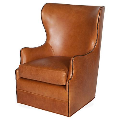 Pierce Wingback Chair, Saddle
