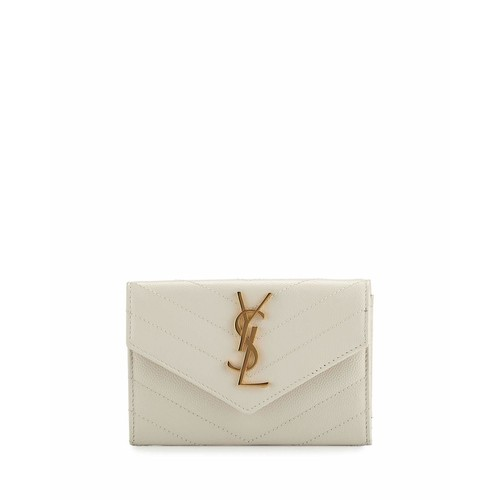 SAINT LAURENT Monogram Small Envelope Wallet, White