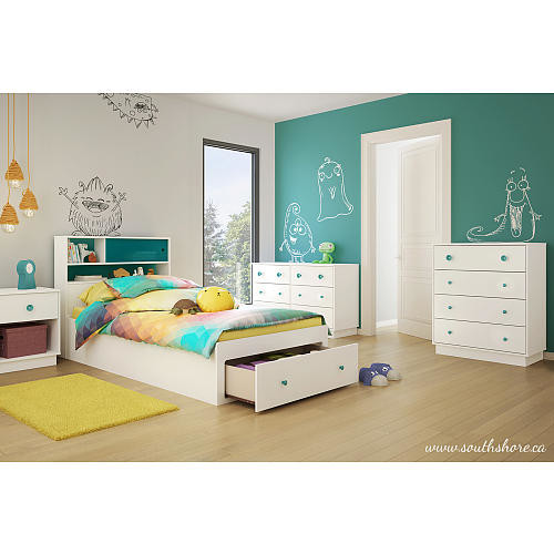 South Shore Little Monsters Twin Headboard Bookcase (39 inch) with Night Light - Pure White and Turquoise