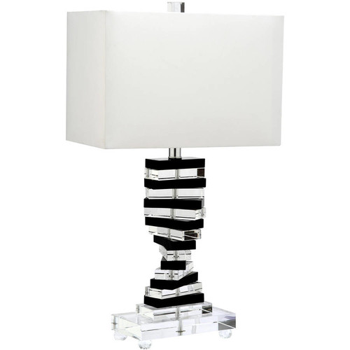 Safavieh Crystal Key Table Lamp with CFL Bulb, Clear/Black with Off-White Shade