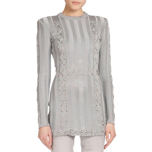 BALMAIN Long-Sleeve Lace-Up Tunic Sweater, Gray