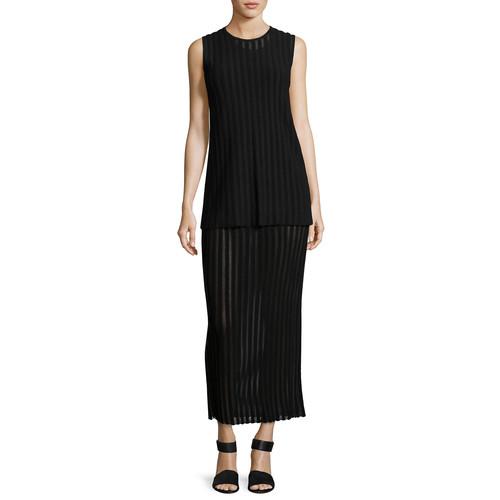 DIANE VON FURSTENBERG Two-Tiered Sleeveless Knit Maxi Dress, Black