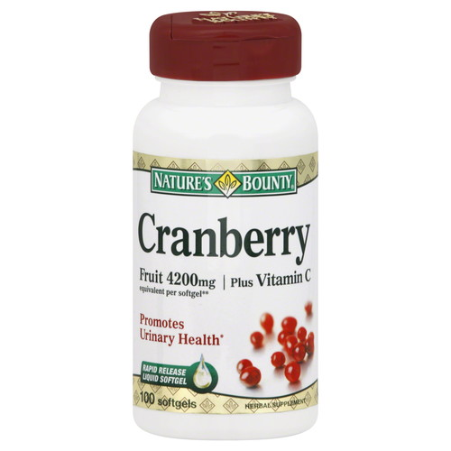 Nature's Bounty Cranberry, Triple Strength, Fruit 1680 mg, Plus Vitamin C, Softgels, 100 softgels