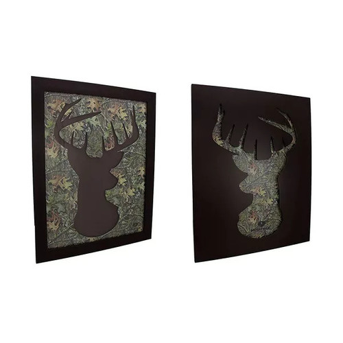 2 Piece Set of Mossy Oak Camo Deer Head Silhouette Wall Hangings