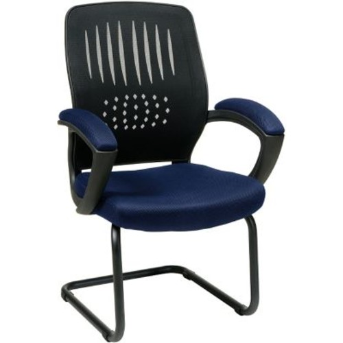 Office Star WorkSmart Fabric Guest Chair with Screen Back, Navy