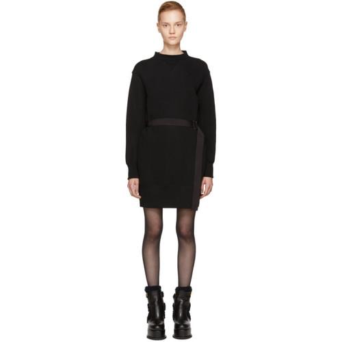 SACAI Black Sponge Belted Sweatshirt Dress
