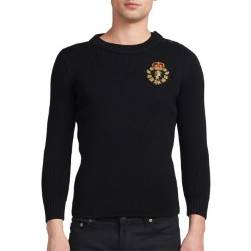 SAINT LAURENT Embroidered Patch Crewneck Sweater